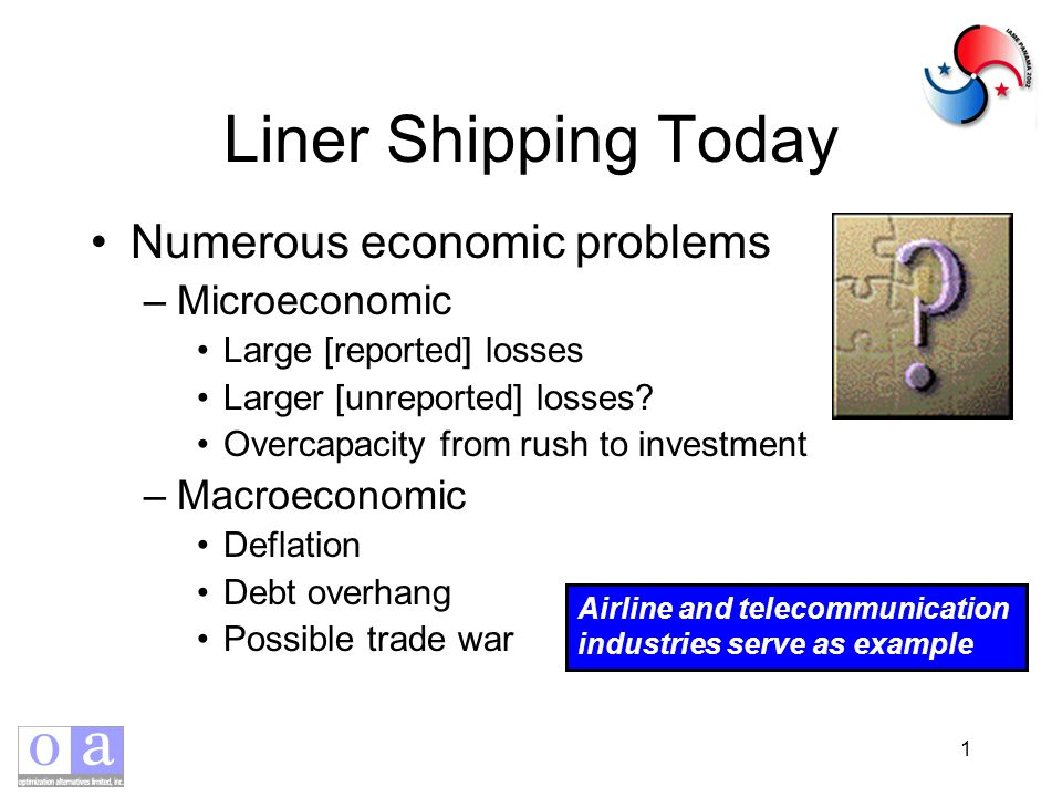 1 Liner Shipping Today Numerous economic problems –Microeconomic Large [reported] losses Larger [unreported] losses.