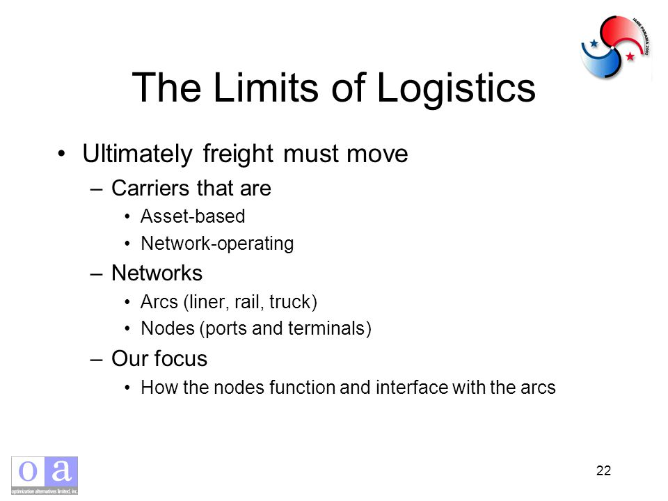 22 The Limits of Logistics Ultimately freight must move –Carriers that are Asset-based Network-operating –Networks Arcs (liner, rail, truck) Nodes (ports and terminals) –Our focus How the nodes function and interface with the arcs