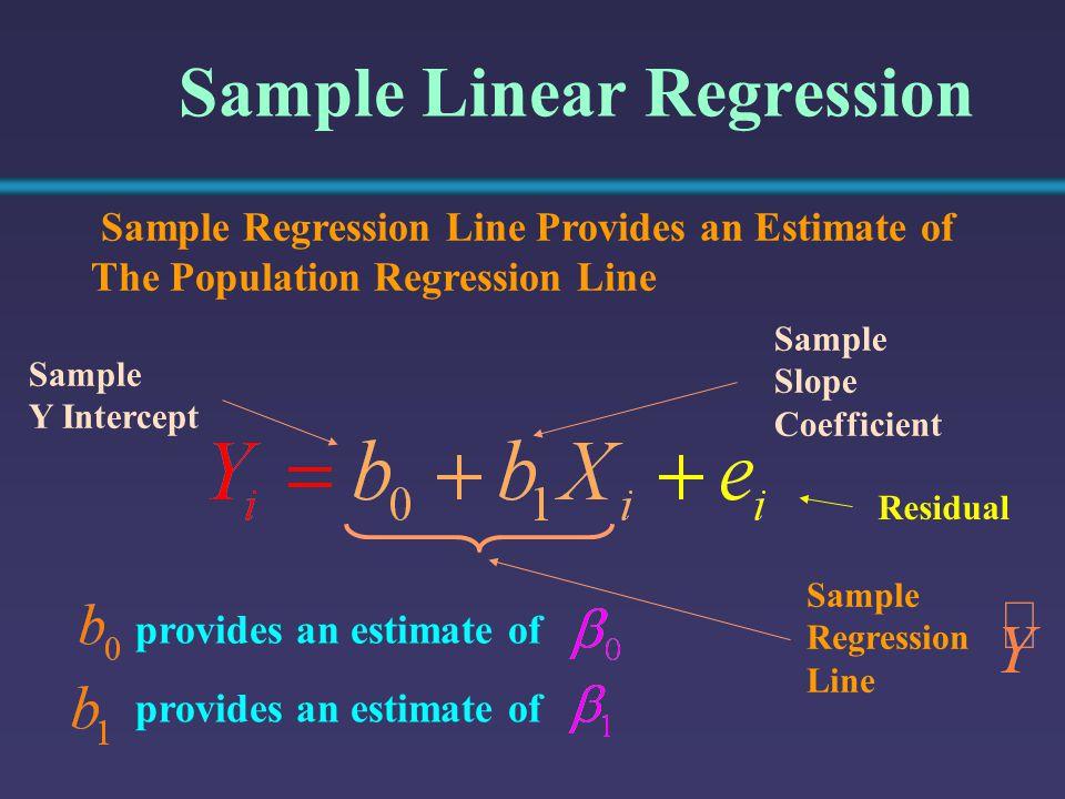 Sample Linear Regression Sample Y Intercept Sample Slope Coefficient Sample Regression Line Provides an Estimate of The Population Regression Line pro