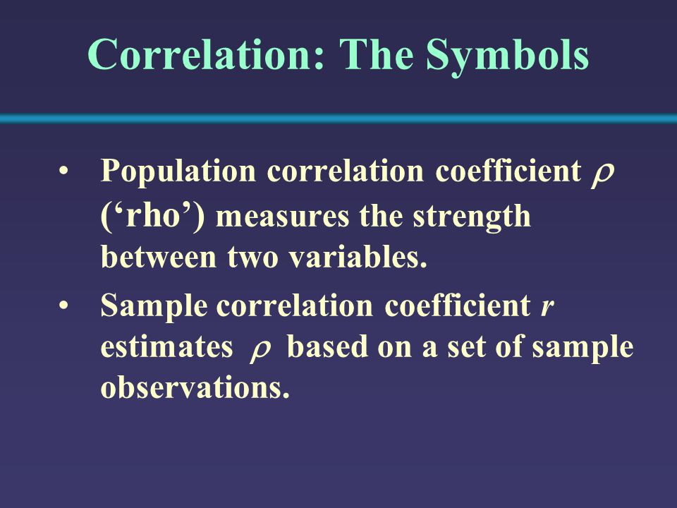 Correlation: The Symbols Population correlation coefficient  ('rho') measures the strength between two variables. Sample correlation coefficient r es
