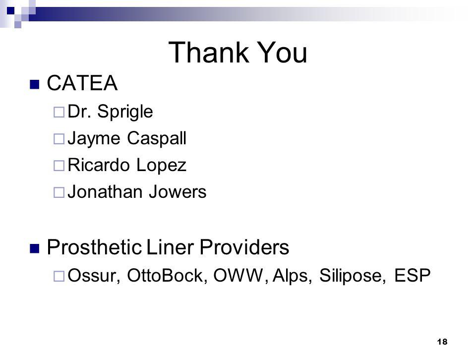 18 Thank You CATEA  Dr. Sprigle  Jayme Caspall  Ricardo Lopez  Jonathan Jowers Prosthetic Liner Providers  Ossur, OttoBock, OWW, Alps, Silipose,