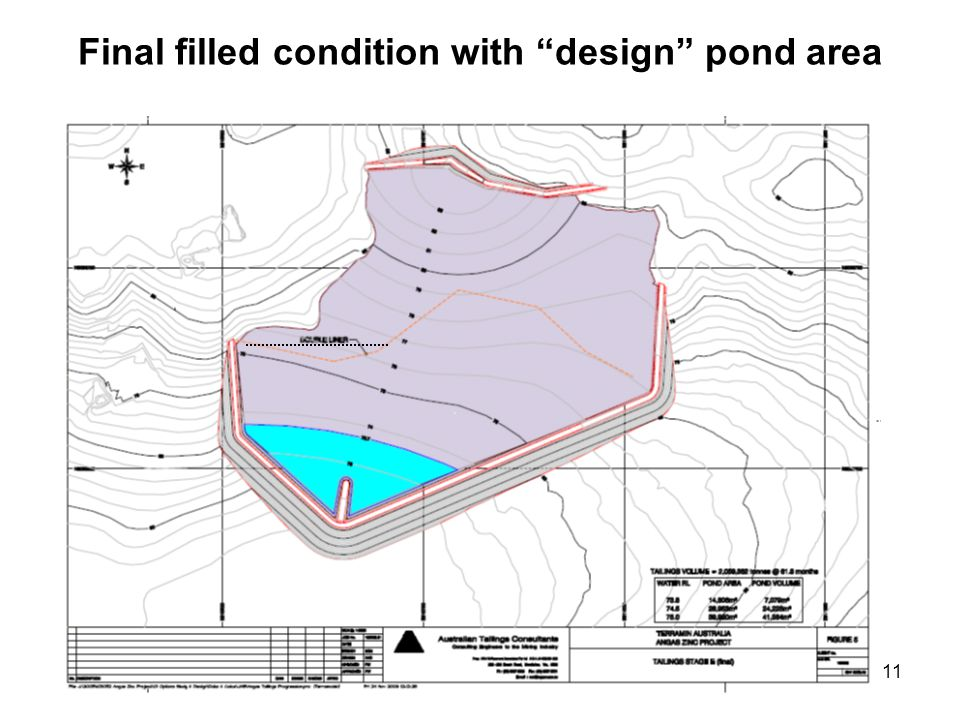 11 Final filled condition with design pond area