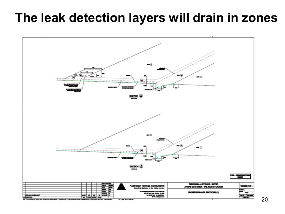 20 The leak detection layers will drain in zones