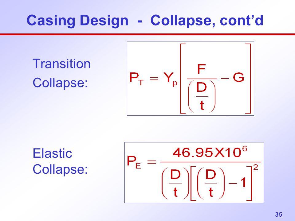 35 Transition Collapse: Elastic Collapse: Casing Design - Collapse, cont'd