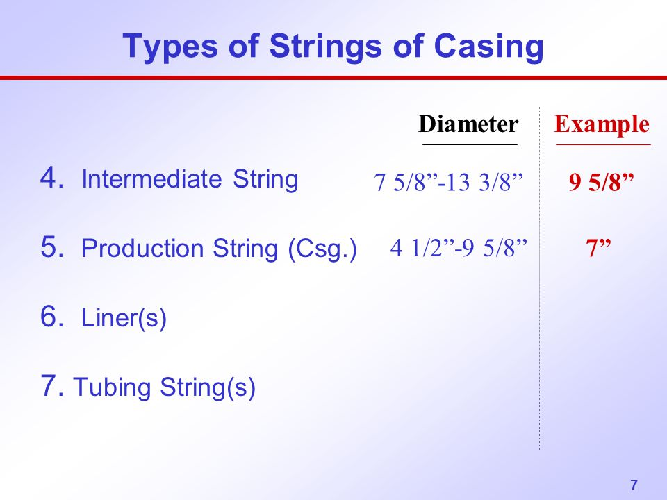 """7 Types of Strings of Casing 4. Intermediate String 5. Production String (Csg.) 6. Liner(s) 7. Tubing String(s) 7 5/8""""-13 3/8"""" 9 5/8"""" Diameter Example"""