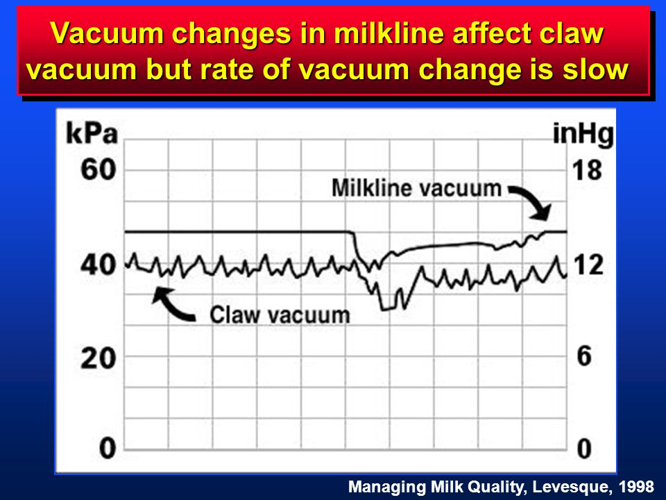Vacuum changes in milkline affect claw vacuum but rate of vacuum change is slow Managing Milk Quality, Levesque, 1998