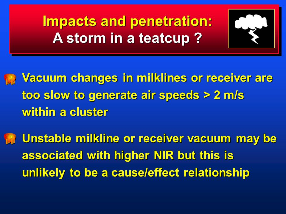 Vacuum changes in milklines or receiver are too slow to generate air speeds > 2 m/s within a cluster Unstable milkline or receiver vacuum may be associated with higher NIR but this is unlikely to be a cause/effect relationship Impacts and penetration: A storm in a teatcup