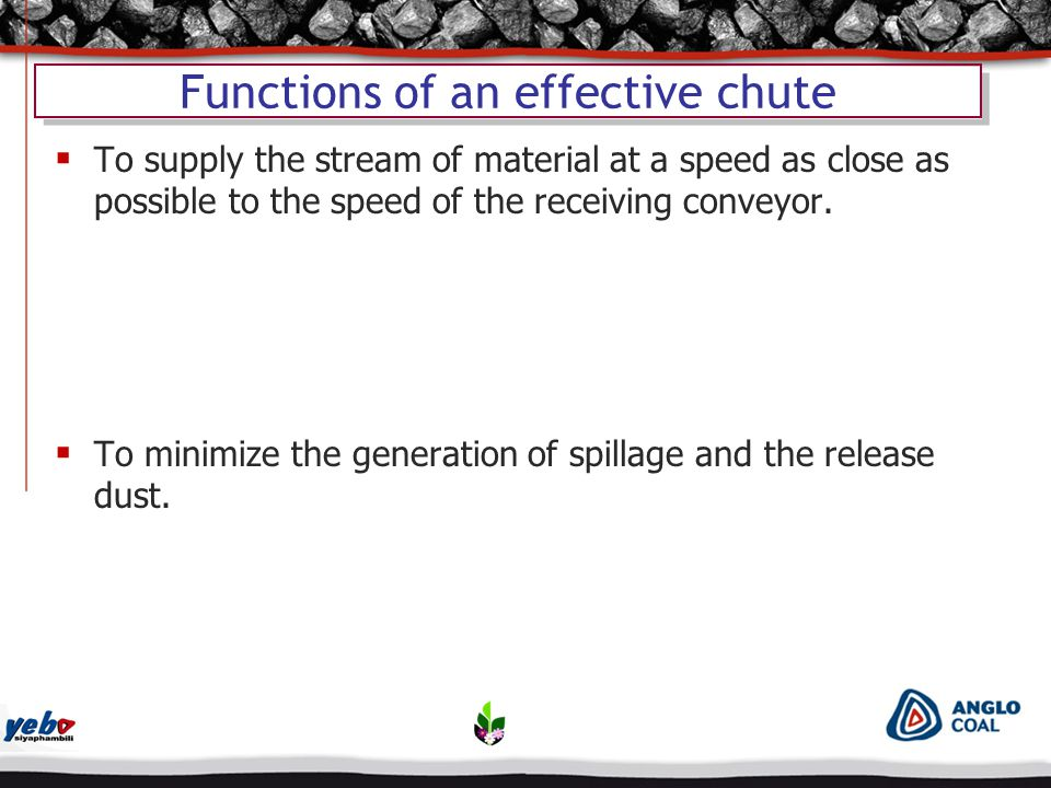 Functions of an effective chute  To supply the stream of material at a speed as close as possible to the speed of the receiving conveyor.