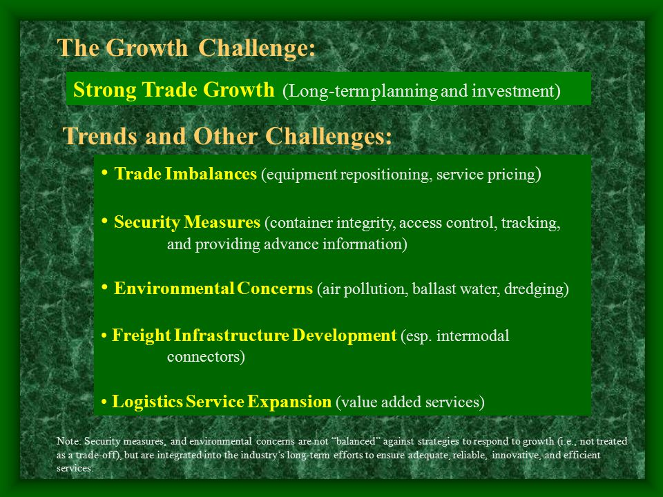 The Growth Challenge: Strong Trade Growth (Long-term planning and investment) Trends and Other Challenges: Trade Imbalances (equipment repositioning, service pricing ) Security Measures (container integrity, access control, tracking, and providing advance information) Environmental Concerns (air pollution, ballast water, dredging) Freight Infrastructure Development (esp.