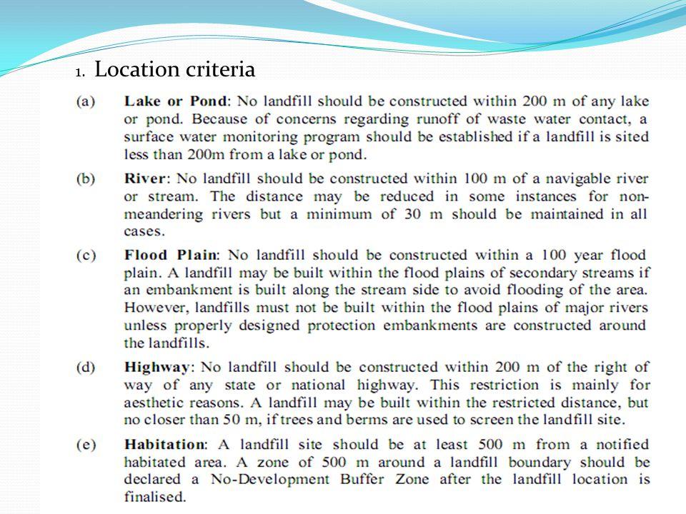 1. Location criteria