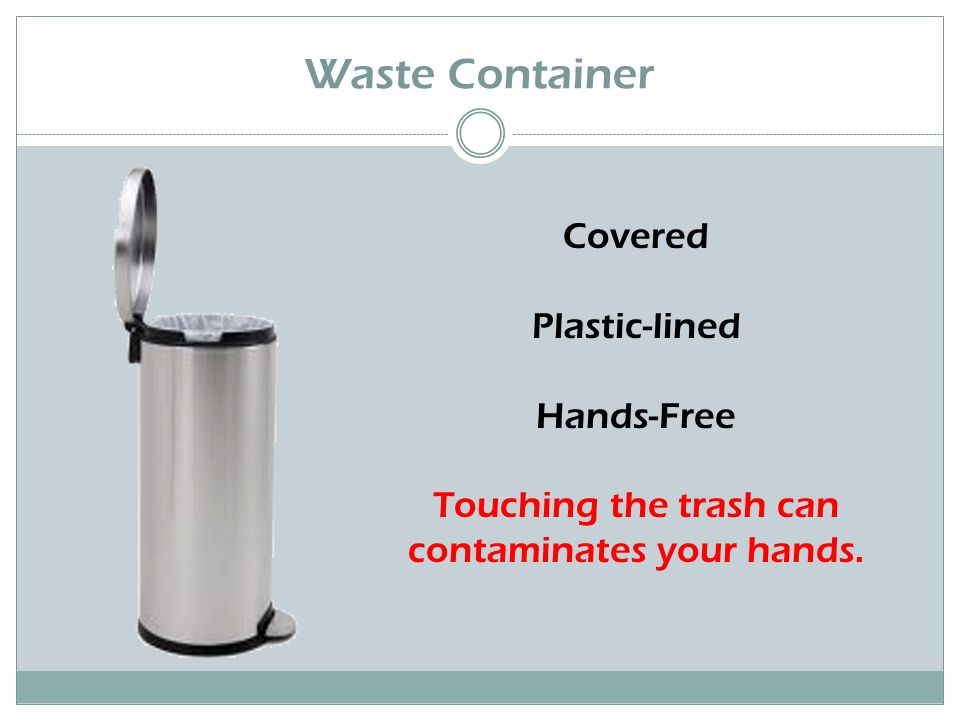 Waste Container Covered Plastic-lined Hands-Free Touching the trash can contaminates your hands.