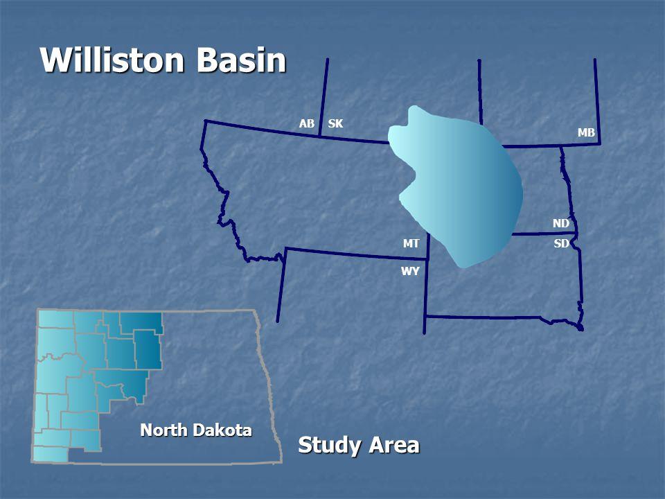MT WY SD ND MB SKAB North Dakota Williston Basin Study Area