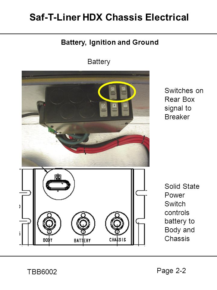 Page 2-2 Saf-T-Liner HDX Chassis Electrical TBB6002 Battery, Ignition and Ground Battery Switches on Rear Box signal to Breaker Solid State Power Swit
