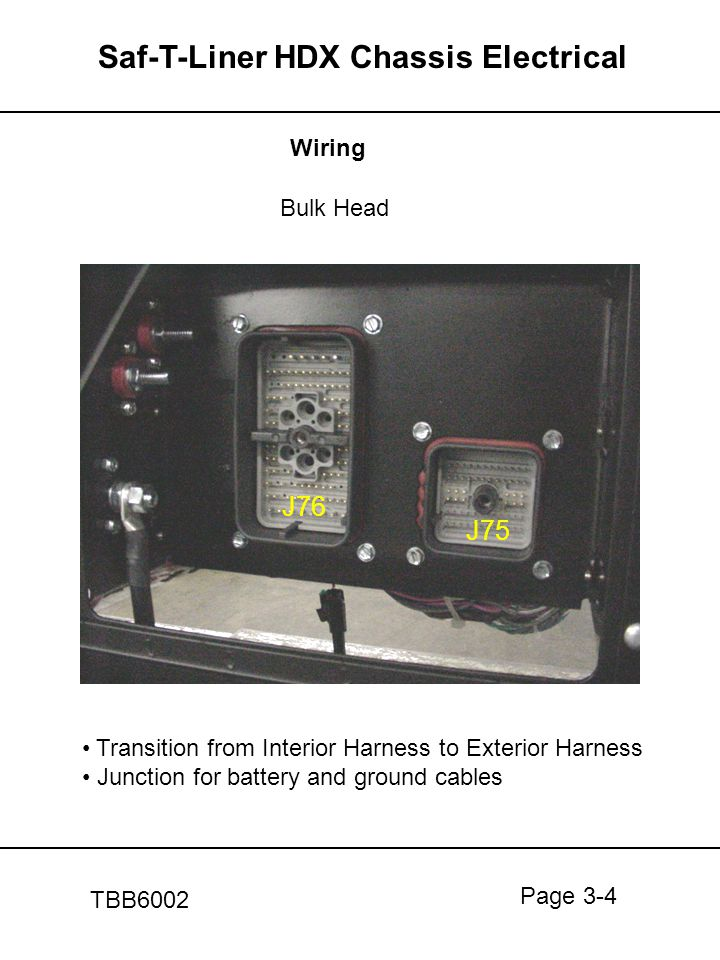 Page 3-4 Saf-T-Liner HDX Chassis Electrical TBB6002 Wiring Bulk Head Transition from Interior Harness to Exterior Harness Junction for battery and gro
