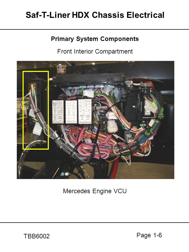 Page 1-6 Saf-T-Liner HDX Chassis Electrical TBB6002 Primary System Components Front Interior Compartment Mercedes Engine VCU