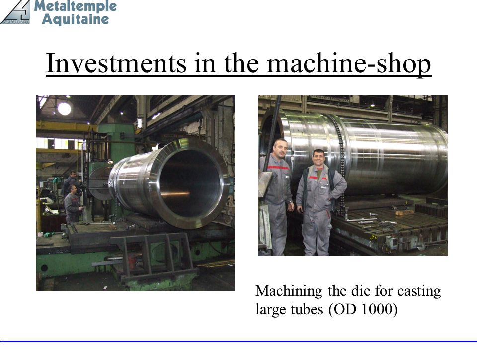 Investments in the machine-shop Machining the die for casting large tubes (OD 1000)