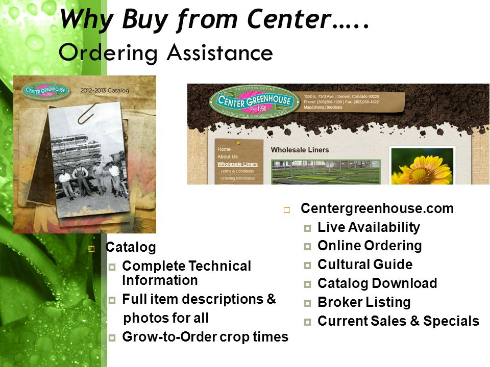 Why Buy from Center…..