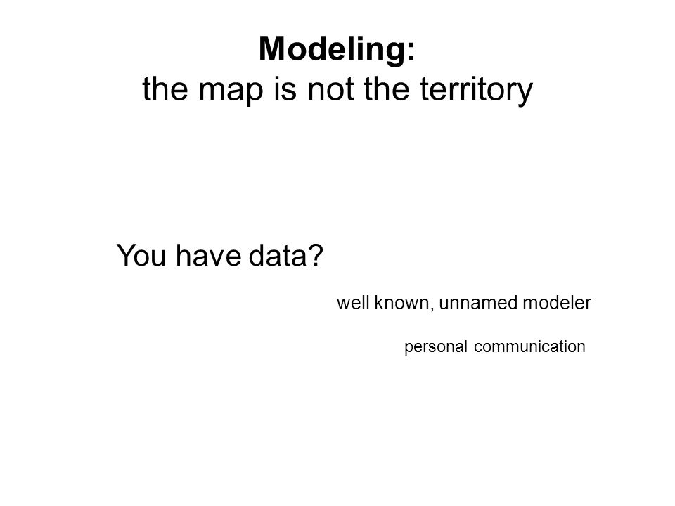 Modeling: the map is not the territory You have data.