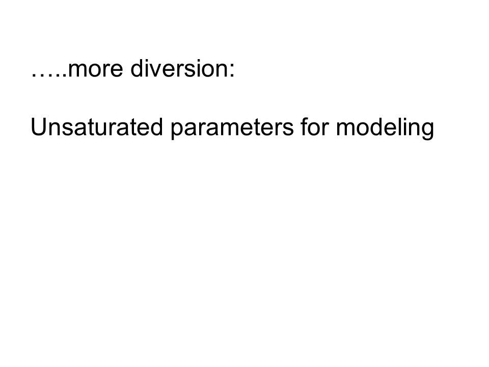 …..more diversion: Unsaturated parameters for modeling