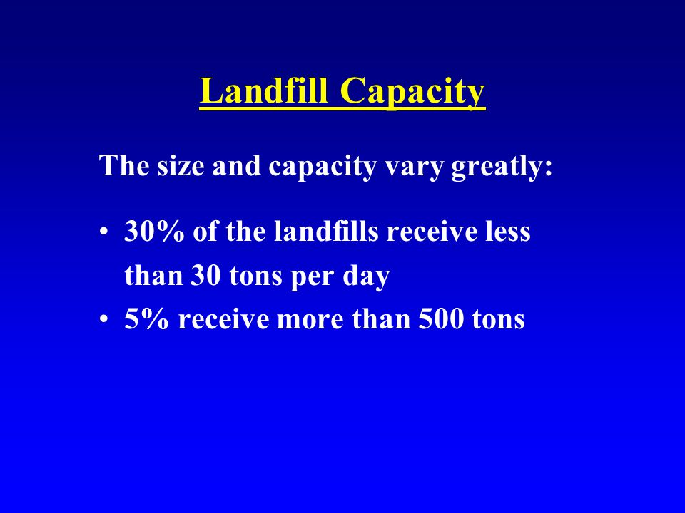 Landfill Capacity The size and capacity vary greatly: 30% of the landfills receive less than 30 tons per day 5% receive more than 500 tons