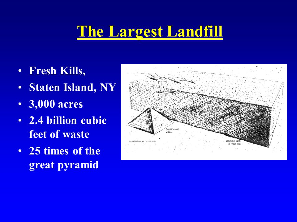 The Largest Landfill Fresh Kills, Staten Island, NY 3,000 acres 2.4 billion cubic feet of waste 25 times of the great pyramid