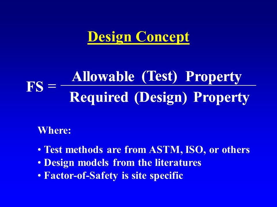 Design Concept FS Allowable (Test) Property Required (Design) Property  FS Allowable (Test) Property Required (Design) Property  Where: Test methods are from ASTM, ISO, or others Design models from the literatures Factor-of-Safety is site specific