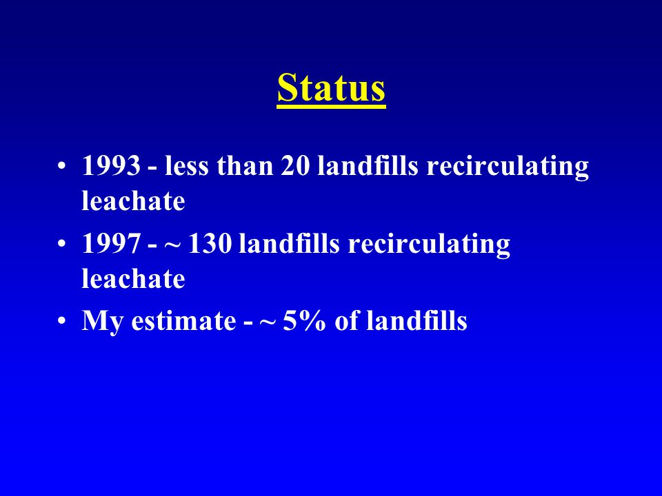 Status 1993 - less than 20 landfills recirculating leachate 1997 - ~ 130 landfills recirculating leachate My estimate - ~ 5% of landfills