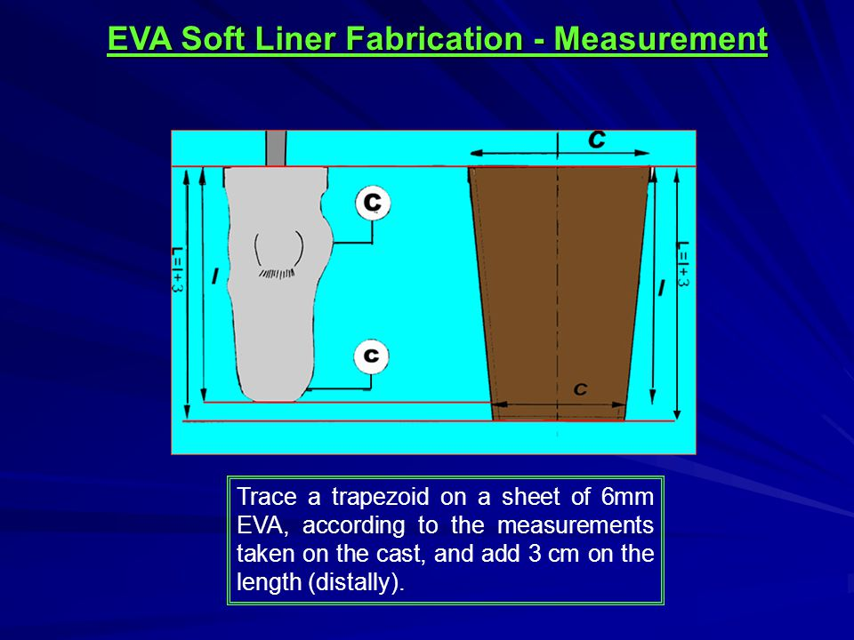 Trim the lateral and small (distal) end Cut the trapezoid from 6mm EVA & skive the lateral edges & distal edge to nothing (width of 12mm) EVA Soft Liner Fabrication – Skiving & Gluing