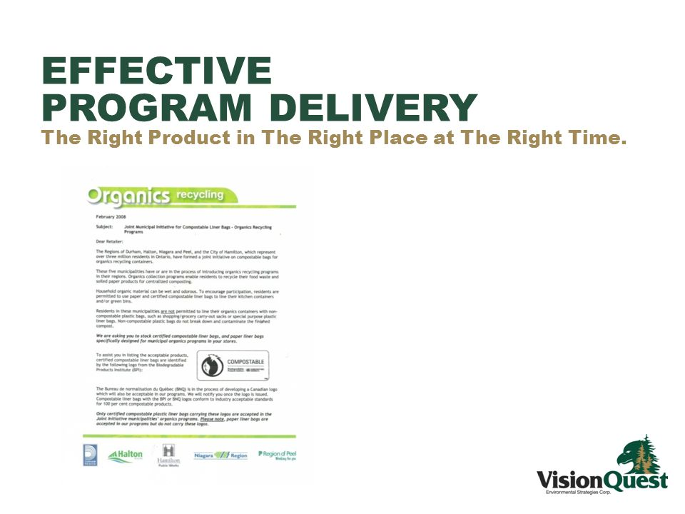 EFFECTIVE PROGRAM DELIVERY The Right Product in The Right Place at The Right Time.