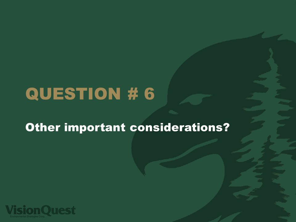 QUESTION # 6 Other important considerations?