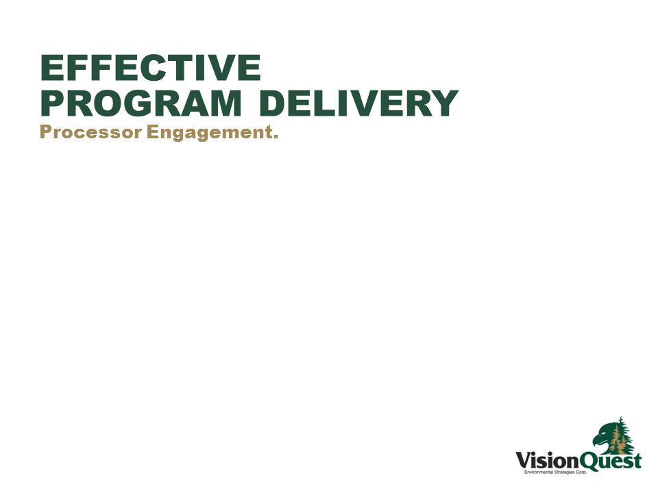 EFFECTIVE PROGRAM DELIVERY Processor Engagement.
