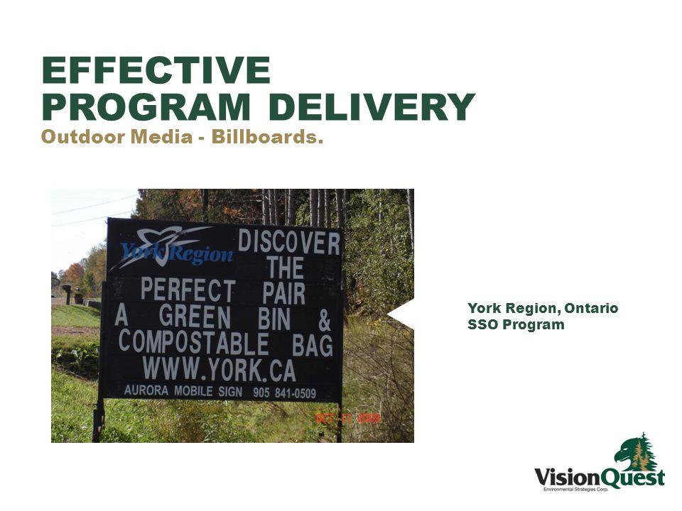 York Region, Ontario SSO Program EFFECTIVE PROGRAM DELIVERY Outdoor Media - Billboards.