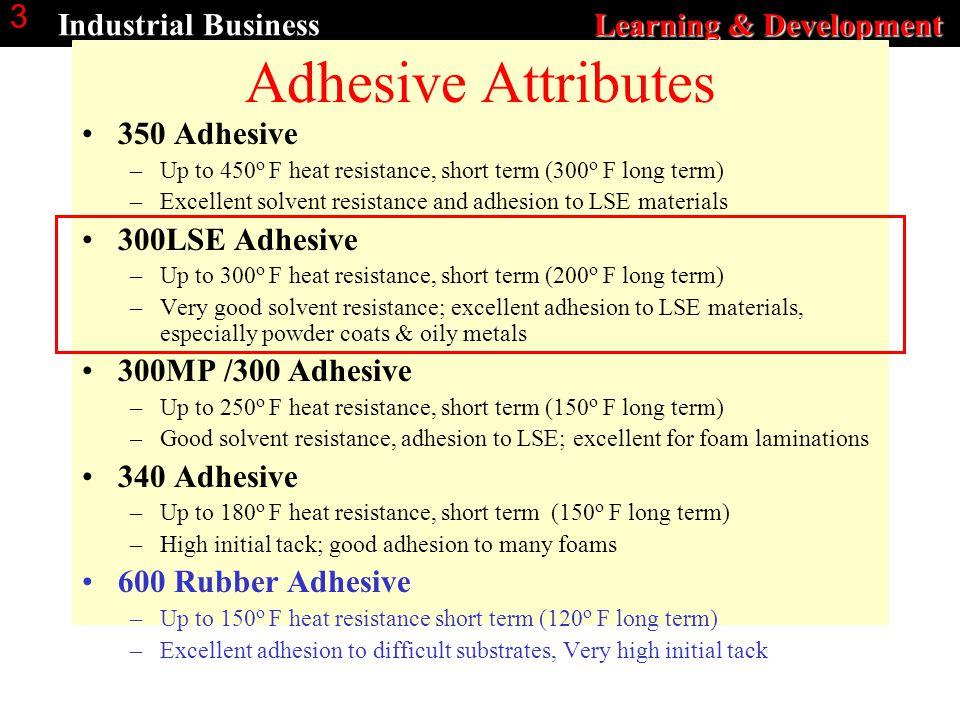 Learning & Development Industrial Business Learning & Development 3 Adhesive Attributes 350 Adhesive –Up to 450 o F heat resistance, short term (300 o