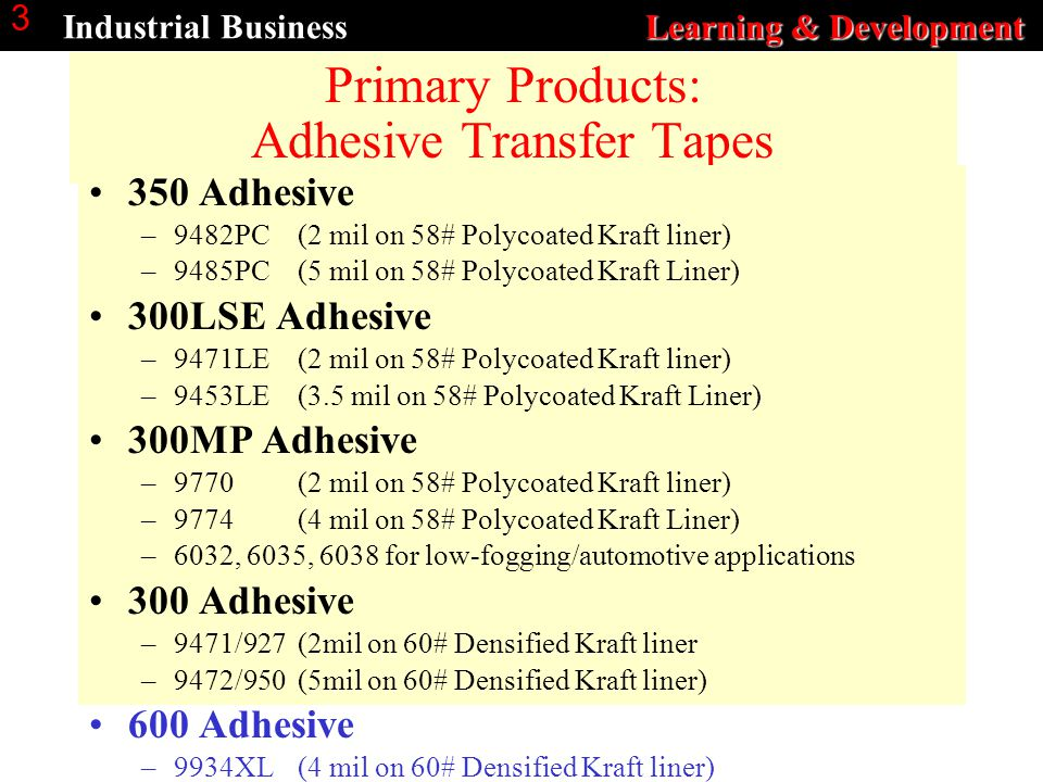 Learning & Development Industrial Business Learning & Development 3 Primary Products: Adhesive Transfer Tapes 350 Adhesive –9482PC (2 mil on 58# Polyc