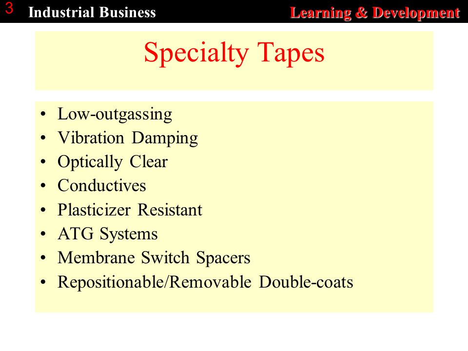 Learning & Development Industrial Business Learning & Development 3 Specialty Tapes Low-outgassing Vibration Damping Optically Clear Conductives Plast