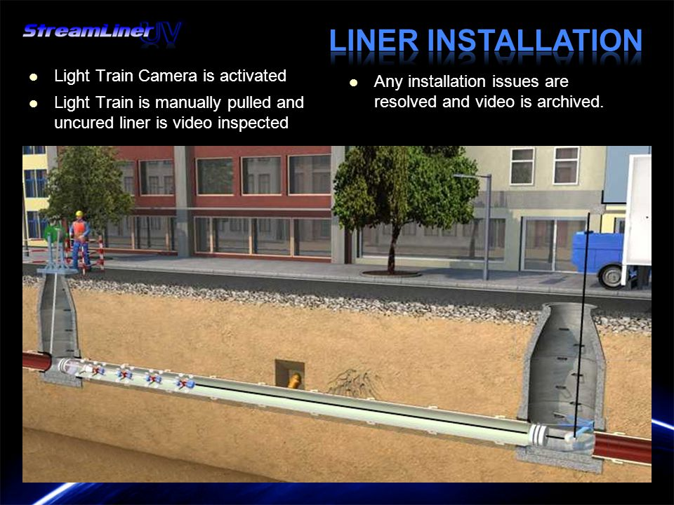 Light Train Camera is activated Light Train Camera is activated Light Train is manually pulled and uncured liner is video inspected Light Train is manually pulled and uncured liner is video inspected Any installation issues are resolved and video is archived.