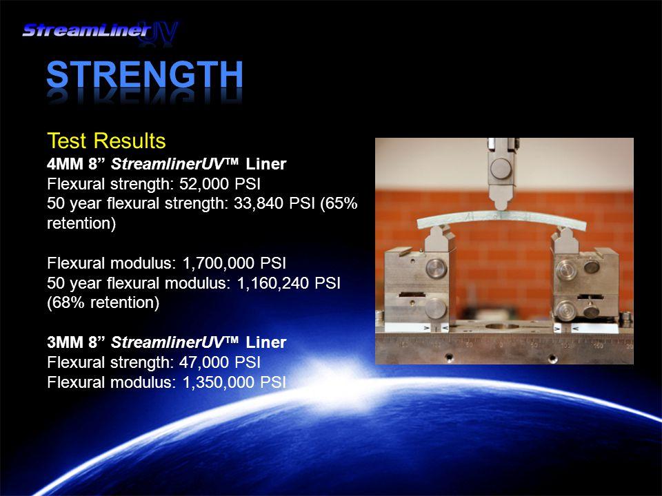Test Results 4MM 8 StreamlinerUV™ Liner Flexural strength: 52,000 PSI 50 year flexural strength: 33,840 PSI (65% retention) Flexural modulus: 1,700,000 PSI 50 year flexural modulus: 1,160,240 PSI (68% retention) 3MM 8 StreamlinerUV™ Liner Flexural strength: 47,000 PSI Flexural modulus: 1,350,000 PSI