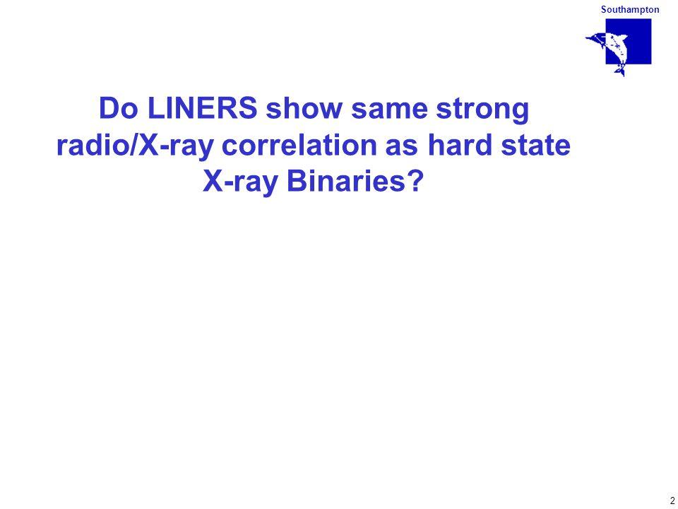 Southampton 2 Do LINERS show same strong radio/X-ray correlation as hard state X-ray Binaries?