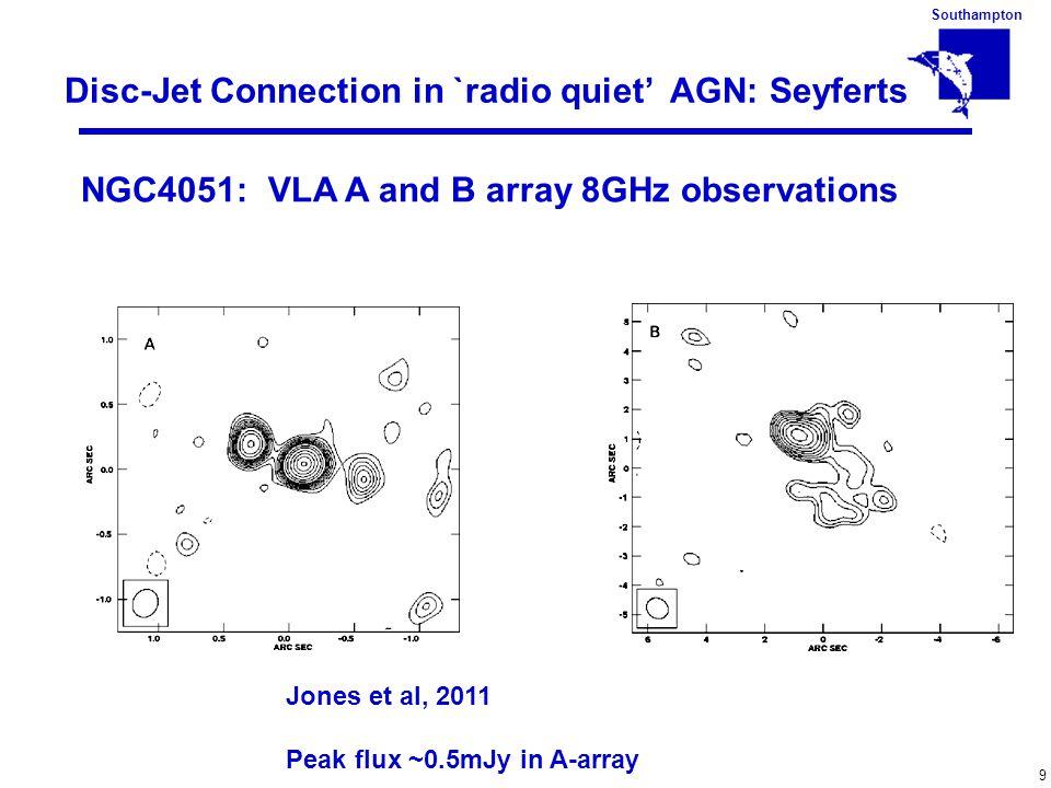 Southampton 9 Disc-Jet Connection in `radio quiet' AGN: Seyferts Jones et al, 2011 Peak flux ~0.5mJy in A-array NGC4051: VLA A and B array 8GHz observ