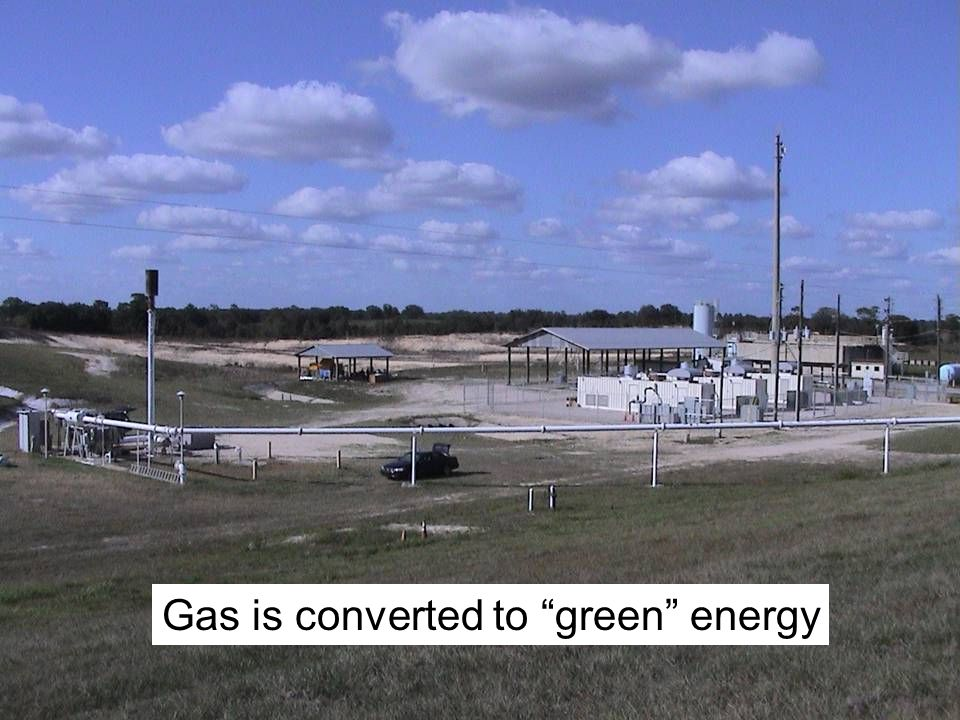 "Gas is converted to ""green"" energy"