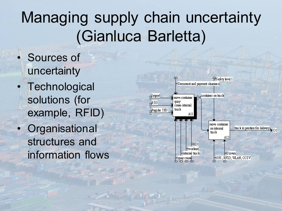 Managing supply chain uncertainty (Gianluca Barletta) Sources of uncertainty Technological solutions (for example, RFID) Organisational structures and information flows