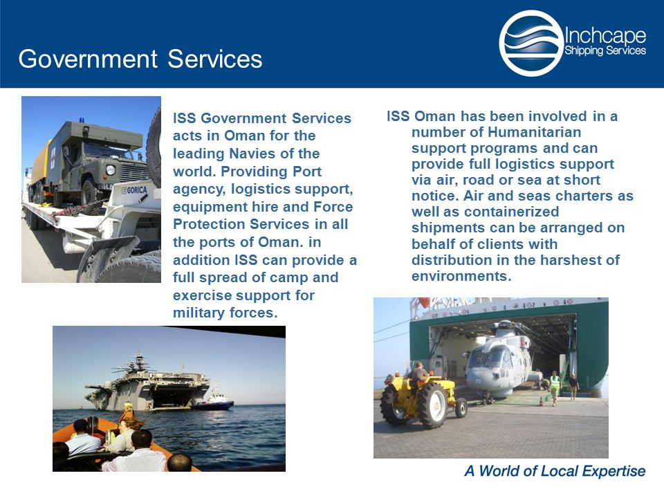 ISS Oman has been involved in a number of Humanitarian support programs and can provide full logistics support via air, road or sea at short notice.