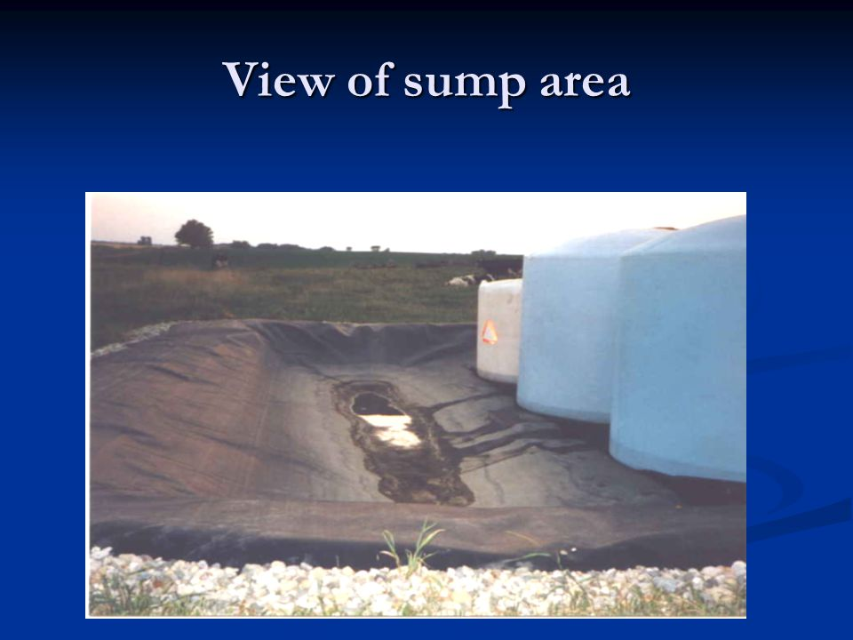 View of sump area