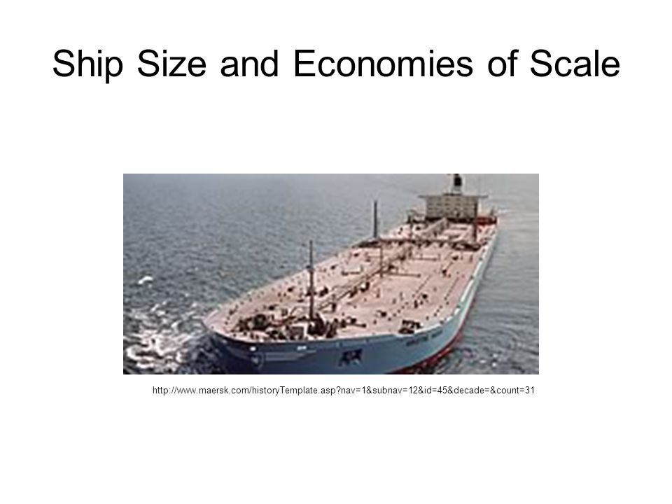 Ship Size and Economies of Scale http://www.maersk.com/historyTemplate.asp nav=1&subnav=12&id=45&decade=&count=31