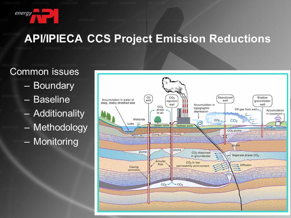 API/IPIECA CCS Project Emission Reductions Common issues –Boundary –Baseline –Additionality –Methodology –Monitoring