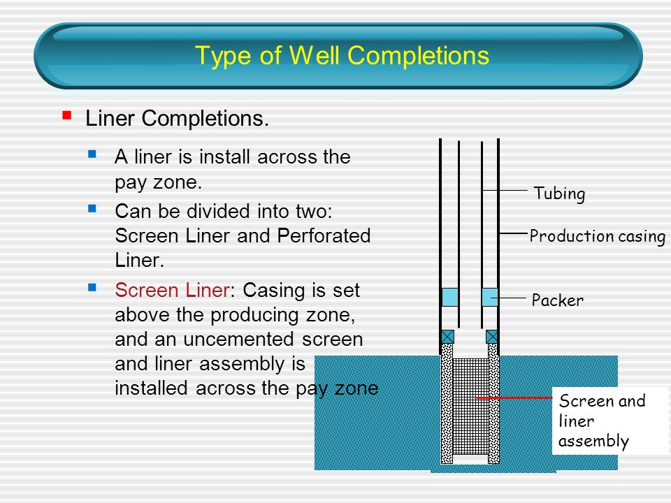 Type of Well Completions Production casing Screen and liner assembly  Liner Completions.
