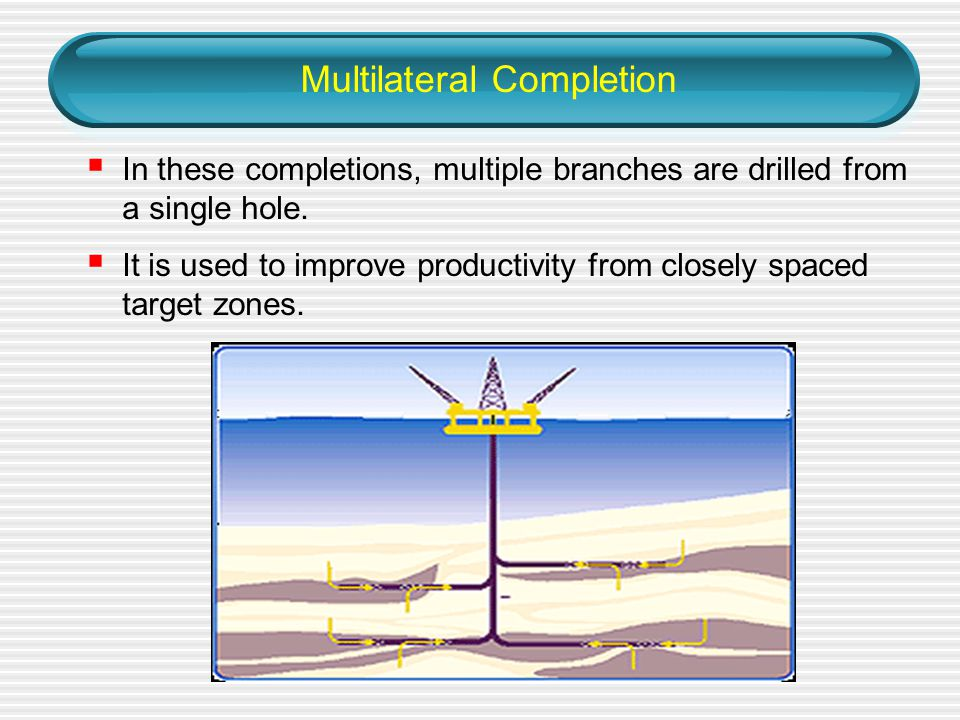 Multilateral Completion  In these completions, multiple branches are drilled from a single hole.