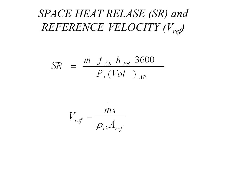 SPACE HEAT RELASE (SR) and REFERENCE VELOCITY (V ref )