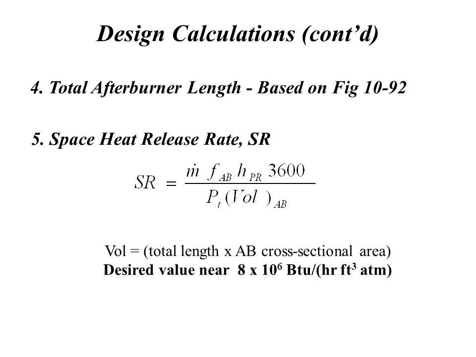 Design Calculations (cont'd) 4.Total Afterburner Length - Based on Fig 10-92 5.