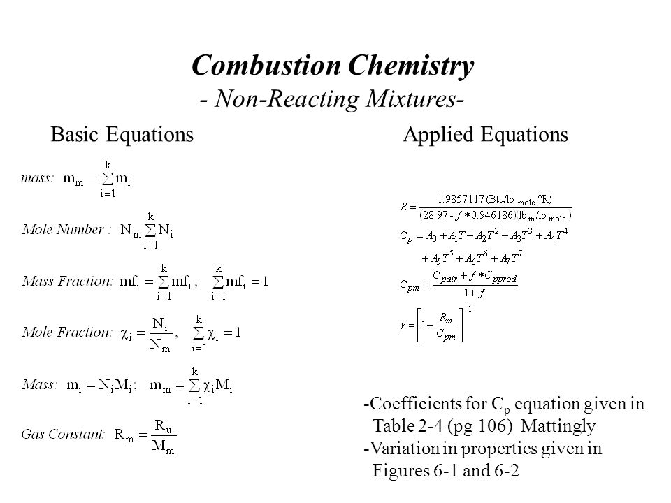 Combustion Chemistry - Non-Reacting Mixtures- Basic EquationsApplied Equations -Coefficients for C p equation given in Table 2-4 (pg 106) Mattingly -Variation in properties given in Figures 6-1 and 6-2